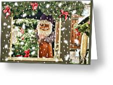 Father Christmas In The Snow Greeting Card