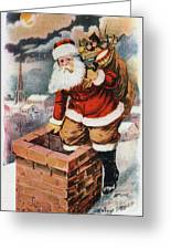 Father Christmas Popping Down The Chimney To Deliver Gifts To The Good.  Greeting Card