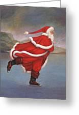 Father Christmas Skating On Duddingston Loch Greeting Card