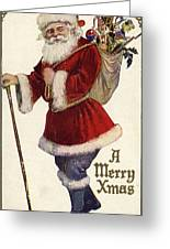 Father Christmas With A Bag Of Toys Greeting Card