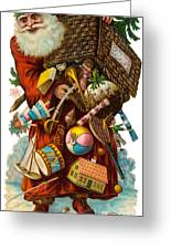 Father Christmas With Presents Greeting Card