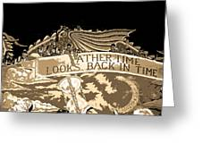 Father Time Looks Back Greeting Card