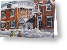 Faubourg A Melasse Montreal - Joys Of Winter By Prankearts Greeting Card