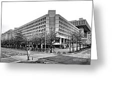 Fbi Building Front View Greeting Card by Olivier Le Queinec