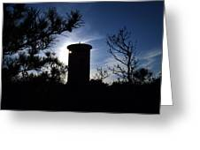 Fct1 Fire Control Tower 1 In Silhouette Greeting Card