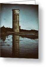 Fct3 Fire Control Tower Reflections In Sepia Greeting Card