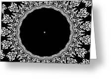Feathers And Circles Kaleidoscope In Black And White Greeting Card