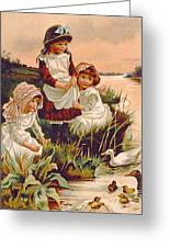 Feeding Ducks Greeting Card