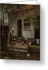 Feeding The Ducks Greeting Card by Bernardus Johannes Blommers or Bloomers