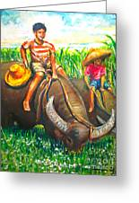 Feeding Water Buffalo Greeting Card