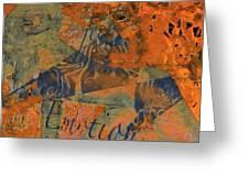 Feel Emotion Orange And Green Greeting Card
