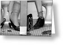 Feet In Toilet Stalls Greeting Card by Novastock