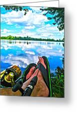 Feet Up Fishing Crab Orchard Lake Greeting Card