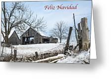 Feliz Navidad With Weathered Barn Greeting Card