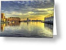 Fells Point Harbor Sunset Baltimore Maryland   Greeting Card