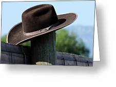 Felt Hat On Fence Post Greeting Card