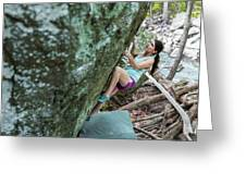 Female Athlete Climbing On Boulder Greeting Card