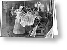 Female Barber-shop, 1895 Greeting Card