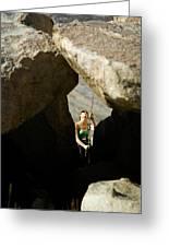 Female Belaying Between Rocks Greeting Card