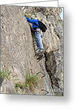 female climber on Via Ferrata Greeting Card