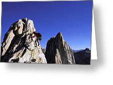 Female Climber Reaching The Top Greeting Card