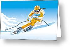 Female Downhill Skier Winter Sport Greeting Card by Frank Ramspott