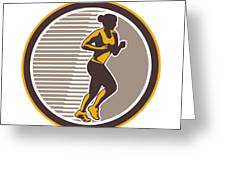 Female Marathon Runner Side View Retro Greeting Card by Aloysius Patrimonio