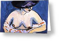 Female Nude With Hat Greeting Card