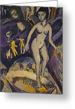 Female Nude With Hot Tub Greeting Card
