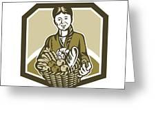 Female Organic Farmer Crop Harvest Woodcut Greeting Card