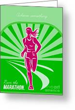 Female Run Marathon Retro Poster Greeting Card