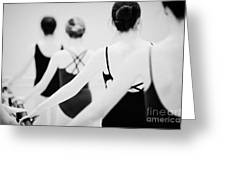 Female Teenage Ballet Students Holding On To A Ballet Barre At A Ballet School In The Uk Greeting Card by Joe Fox