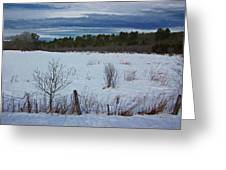 Fence And Snowy Field Greeting Card