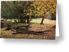 Fence And Tree In Autumn Greeting Card