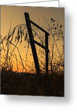 Fence At Sunset I Greeting Card