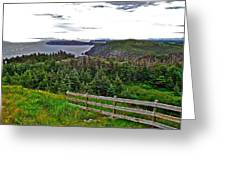 Fence In Fields At Long Point In Twillingate-nl Greeting Card