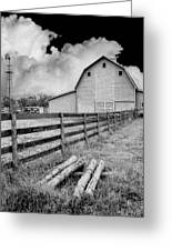 Fence Posts And Barn Greeting Card