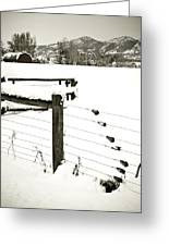 Fence Pulls In Winter Greeting Card