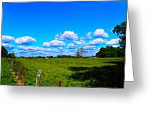 Fence Row And Clouds Greeting Card