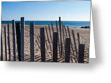 Fence Sand And Ocean Greeting Card