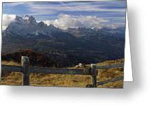 Fence With A Mountain Range Greeting Card