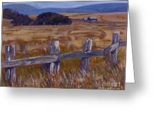 Fenced Field - Point Arenas Ca Greeting Card