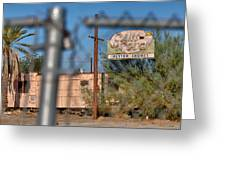 Fenced In  Abandoned 1950's Motel Trailer Greeting Card