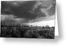 Fenced In - Western Oklahoma Scene In Black And White Greeting Card