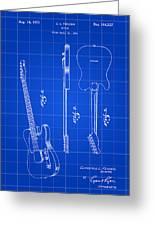 Fender Guitar Patent 1951 - Blue Greeting Card