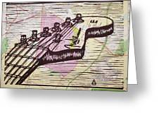 Fender Strat On Map Greeting Card by William Cauthern