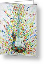 Fender Stratocaster - Watercolor Portrait Greeting Card