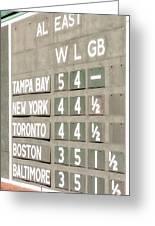 Fenway Park Al East Scoreboard Standings Greeting Card