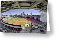 Fenway Park And Boston Skyline Greeting Card
