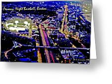 Fenway Park Baseball Night Game Digital Art Greeting Card